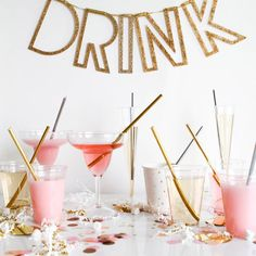 """Pink drinks only?  So cute.  Cosmos,  rose sangria, etc.  """"Clink clink! See our pink drink post today on www.ohhappyday.com"""""""