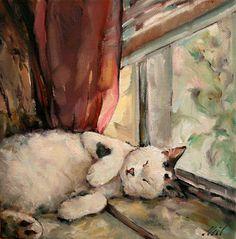 "Moonglance Original Oil OOAK 8""x8""x1.5 "" ""Lazy Days"" Cat Sleeping in Window | eBay"