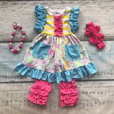 new arrival capri summer baby girls ruffles pocket floral sleeveless clothes cotton boutique outfits with matching accessories