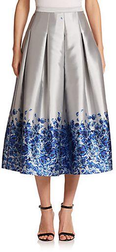 Floral Satin Midi Skirt