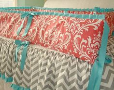 Coral and Teal Crib Bedding Baby Bedding. 2 Piece includes Crib Skirt, Bumpers