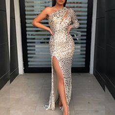 Sexy Asymmetry One Shoulder Side Slit Evening Dress – ebuytide Prom Dresses With Sleeves, Maxi Dresses, Party Dresses, Leopard Dress, Buy Dress, Sexy, Evening Dresses, Look, Fashion Dresses