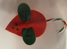 Classic felt mouse with candy cane tail.