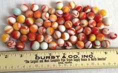 70 Vintage Marbles Swirls Tricolor Bicolor Orange Red Yellow Oxblood Lot #Unknown #Swirl