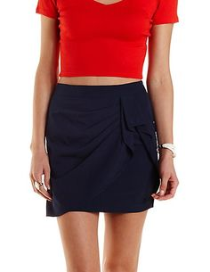 Ruched & Draped Wrap Skirt: Charlotte Russe