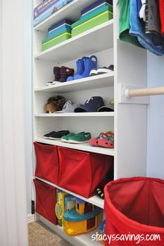 IKEA Billy Hack: Closet Rod Cups (similar to these) to attach the rod to the support brackets.  I've seen several DIY custom closets and Billy Closet Hacks online, and this part is never addressed, so I'm going to tell you how I did it.  I decided that the support board attached to the Billy not only was needed to support the shelf above, but also to support the closet rod cups.  I wanted as few screws as possible to go into the actual bookcase, so the only ones that penetrate the side of…