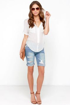 Cute Denim Shorts - Jean Shorts - Bermuda Shorts - Distressed Shorts - $43.00
