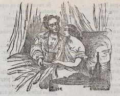 Xilografía de un hombre y una mujer dentro de una cama.