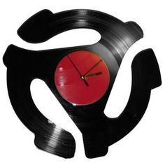45 Adapter shaped clock made from recycled BLACK and RED vinyl records! Clock is x Batteries are included! Vinyl Record Crafts, Used Vinyl Records, Vinyl Cd, Vinyl Music, Vinyl Crafts, Vinyl Record Collection, Record Clock, Vinyl Junkies, Vintage Records