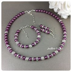 Pearl With Silver Necklace Info: 7069219911 Purple Wedding Jewelry, Prom Jewelry, Purple Jewelry, Pearl Jewelry, Jewlery, Silver Jewelry, Purple Necklace, Necklace Set, Beaded Necklace