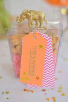 luxe circus baby shower favor, complete with gold circus animal, chevron party theme, pink and orange party theme, luxe circus party theme Baby Shower Party Favors, Baby Shower Parties, Baby Shower Themes, Baby Boy Shower, Bridal Shower, Baby Showers, Shower Ideas, Owl Themed Parties, Circus Theme Party
