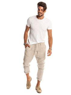 Men's Linen Pants – Phantom Style – Nohow – Nohow Style - All About Mens Linen Outfits, Linen Pants Outfit, Trouser Outfits, Estilo Tomboy, Beige Pants, Big Men Fashion, Casual T Shirts, Lounge Wear, Men Dress