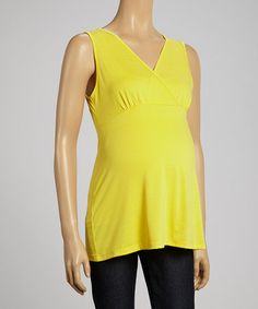 Loving this Yellow Sleeveless Maternity Top - Women on #zulily! #zulilyfinds