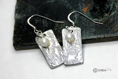 Beachy Cool Water Silver Earrings Gift for Her Beach by 2littlePs