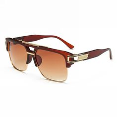 Retro Rectangle Pilot Sunglasses Brown Gold Frame Brown Gradient Lens