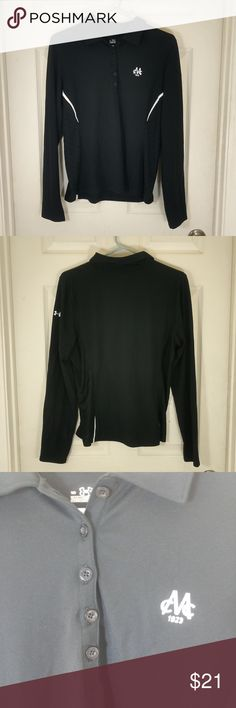 """UNDER ARMOUR~LONG SLEEVE POLO~MEN'S LG UNDER ARMOUR~LONG SLEEVE POLO~MEN'S LG  DETAIL:  LONG SLEEVE, BLACK BASE WITH WITH WHITE ACCENTS AND """"CMC 1923"""" MONOGRAM LOGO ON THE BREAST.  MATERIAL: BODY: 95% POLYESTER, 5% ELASTANE INSETS: 99% POLYESTER, 1% NYLON   CONDITION:  Item is in excellent used condition. Very little, if any, noticeable wear. See images for condition. Feel free to ask any questions. Under Armour Shirts Polos"""