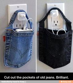 Use a pocket of your old jeans to create a holder for a phone while it's charging