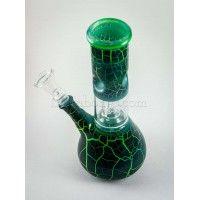 Green Burning Lava Single Percolator Ice Glass Bong