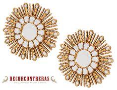 "Round Wall Mirror set of 2 Mirrors, Style Cuzco , ""Gold Sunburst""   DECORCONTRERAS en Etsy"