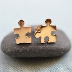 Lily Charmed Gold Jigsaw Stud Earrings ($39) ❤ liked on Polyvore featuring jewelry, earrings, gold jewellery, stud earrings, gold stud earrings, gold earrings and gold jewelry