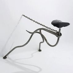 MARK LEWIS greyhound chair United Kingdom, c. 1985 tubular steel, steel chain, bicycle seat 40 w x 28 d x 28 h inches by sara Funky Furniture, Unique Furniture, Furniture Design, Metalarte, Tubular Steel, Steel Chain, Chair Design, Bike Design, Metal Working