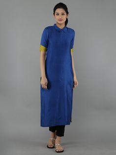 Blue Chanderi Kurta