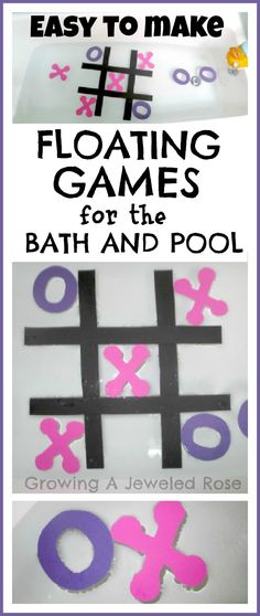 Make Your Own Floating Water Games for the bath and pool.  These cost under one dollar to make and are so fun!