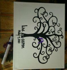 DIY Thumbprint Tree on Canvas :  wedding canvas diy guestbook paint reception thumbprint thumbprint tree Thumbprint Tree1