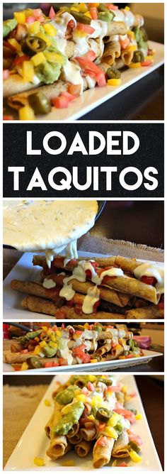 Loaded Taquitos - Beef taquitos smothered in homemade queso blanco and other fresh toppings. #DelimexFiesta #Ad