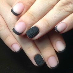 french manicure with dark grey matte nail polish, nail color ideas, decoration on the ring finger Red Glitter Nail Polish, Grey Matte Nails, Black Nails With Glitter, Matte Nail Polish, Glittery Nails, Gold Nails, Acrylic Nails, Neutral Nail Color, Pretty Nail Colors