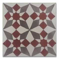 "Found it at Wayfair - Joana 8"" x 8"" Cement Hand-Painted Tile in Red and Gray"