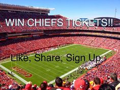 "WIN FREE The Kansas City Chiefs v Green Bay Packers Club Level Tickets at Arrowhead Stadium on Sept 1st! Win by ""Liking"" this post, ""Sharing"" this post and signing up as a player for our new FREE.  #kcchiefs #kansascity #chiefs"
