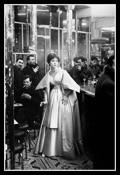 Anna Karina in evening gown by Nina Ricci, photo by Frank Horvat for