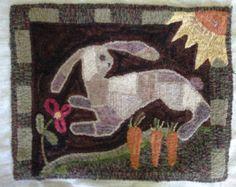 "Primitive Rug Hooking Pattern: ""Garden Friend"" (23 1/2"" x 18"") Crows On The Ledge"