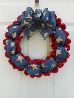 Americana wreath Americana burlap wreath by ChloesCraftCloset Flag Wreath, Patriotic Wreath, Patriotic Decorations, 4th Of July Wreath, Initial Wreath, Burlap Crafts, Wreath Crafts, Diy Wreath, Burlap Wreaths