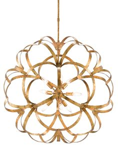 Currey and Company Sappho 9 Light Wide Wrought Iron Globe Chandeli Gold Leaf Indoor Lighting Chandeliers Chandelier Lighting Fixtures, Globe Chandelier, Chandelier Ceiling Lights, Ceiling Fixtures, Ceiling Fans, Ribbon Chandelier, Orb Light, Gold For Sale, Contemporary Chandelier