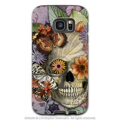 Butterfly Skull Galaxy S7 EDGE Case - Butterfly Botaniskull - Colorful Floral Sugar Skull Galaxy S7 EDGE Tough Case