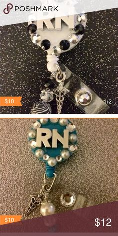 Nurse Name Badge Holders. $10 each These are the most popular colors that match most everyday wear. I can make these any combo color custom orders welcome. For a male nurse $8 beading will be left off. Jewelry Brooches