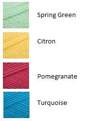 Green, Yellow, Pink and Blue Yarn Color Combinations, Colour Schemes, Yarn Colors, Room Colors, Cross Stitch Thread, Color Plan, Yarn Inspiration, Blue Colour Palette, Color Me Beautiful