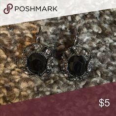 Black earrings Black and crystal earrings Jewelry Earrings