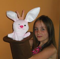 """Rabbit in a Magic Hat made by Beth Beglin using my pattern. I love his """"x"""" eye!"""
