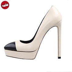 Nansay Damen Schuhe Große Größe Pumps,Maßgeschneiderte Sky High Heels Plateau Schuh,Runden Zehen Stiletto Frauen Schuhe Für Büro-Dame Party-Beige-EU37 (*Partner-Link)