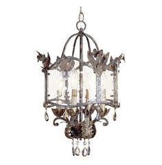 Spanish Revival Antique Gold Silver Lantern Pendant Lamp
