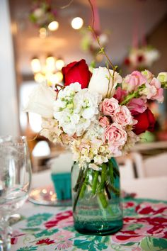 pink, white and red centerpiece