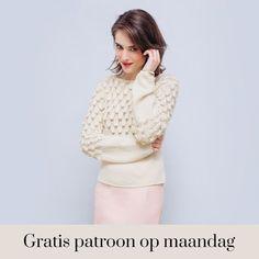 Gratis patroon op maandag - Breipatroon trui. Ontvang ieder maandag het gratis patroon en een leuke aanbieding van het garen. Pull, Crochet, Turtle Neck, Sweaters, Cardigans, Instructions, Jumpers, Fashion, Hosiery