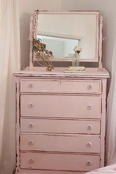 pale pink tallboy dresser on casters with mirror- thinking of refinishing mine like this but adding lace to the drawer fronts