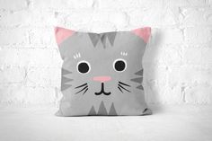 Cat Pillow Case Cute Animal Pillow Kids Room by FrankiePrintCo