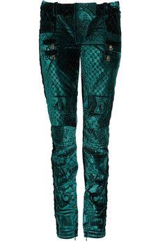 Balmain Cropped velvet-brocade skinny pants | THE OUTNET