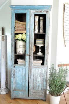 Robins egg blue chippy cupboard. Farmhouse cabinet