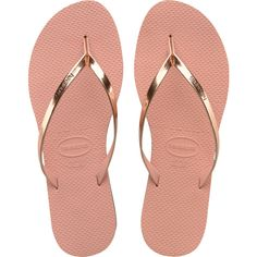 Women's Light Pink You Metallic Flip Flop - Havaianas (435 ARS) ❤ liked on Polyvore featuring shoes, sandals, flip flops, strap shoes, havaianas shoes, havaianas sandals, strappy flip flops and strappy shoes